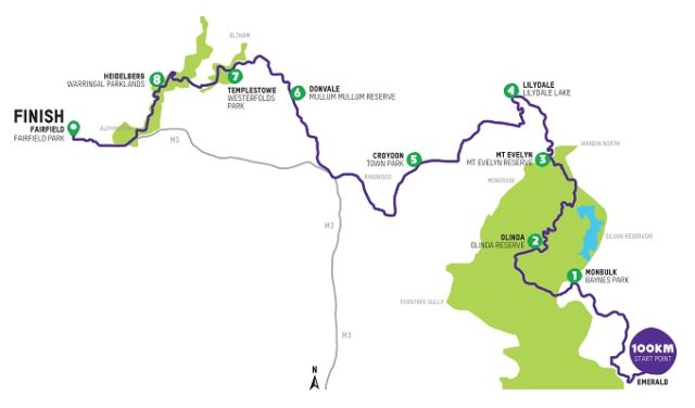 2019 Melbourne Oxfam Trailwalker map